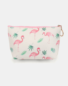 Lily & Rose Flamingo & Leaves Cosmetic Bag White& Pink
