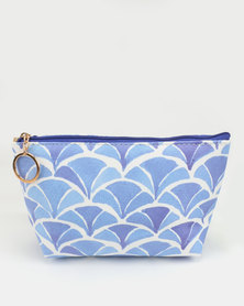 Lily & Rose Shades of Blue Pattern Cosmetic Bag Blue