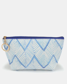 Lily & Rose Shades of Blue ZigZag Print Cosmetic Bag