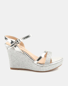 Miss Black Veri Wedge Heels Silver