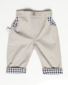 Poogy Bear Stone Chino with Navy Check Pocket Detail