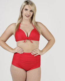 Easy Curves Plunge Bikini Top With High Waist Bottom Red