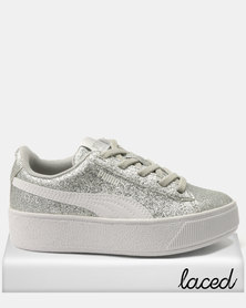 Puma Girls Vikky Platform PS Sneakers Silver