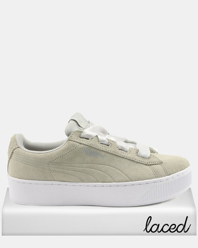 Puma Girls Vikky Platform Ribbon JR Sneakers Grey