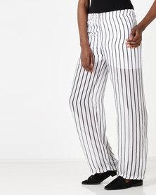 Utopia by Ereshaah Striped Pull On Pants Black/White