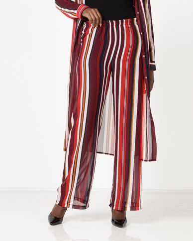 Utopia by Ereshaah Striped Pull On Pants Burgundy
