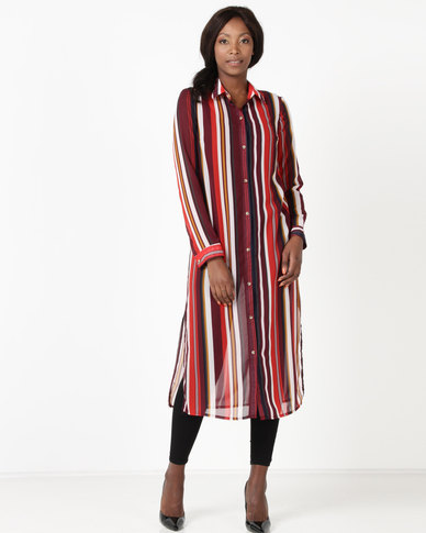 40af9ddb43b5 Utopia by Ereshaah Striped Chiffon Shirt Dress Burgundy