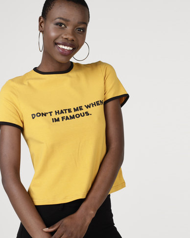 Utopia by Ereshaah Cropped T-Shirt With Print Mustard
