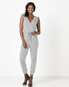 Utopia by Zandre Stripe Jumpsuit Black/White