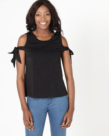 Utopia by Zandre Slinky Bardot Top Black