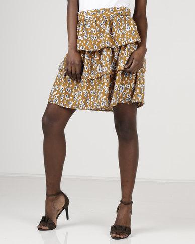 Utopia by Zandre Floral Ruffle Skirt Mustard