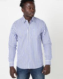 JCrew Long Sleeve Stripe Formal Shirt Blue