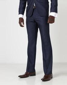JCrew Birdseye Flat Front Suit Trousers Blue