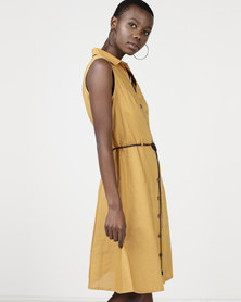 cath.nic By Queenspark Fine Linen Woven Dress Mustard