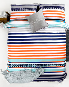 Pierre Cardin Streak Duvet Cover Set Orange/Navy