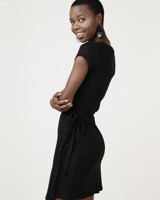 Brave Soul Rib Wrap Over Dress Black