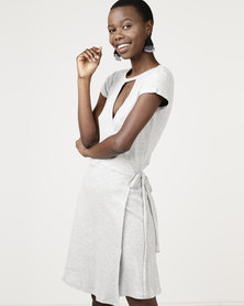 Brave Soul Rib Wrap Over Dress Sports Marl Grey