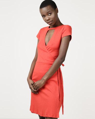 Brave Soul Rib Wrap Over Dress Fiesta Red