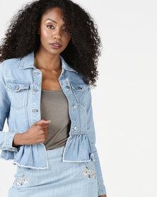 Brave Soul Denim Jacket With Frill On Hem Bleach Wash