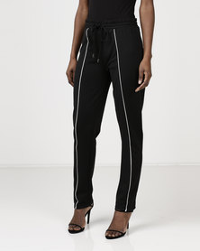 Brave Soul Pants With Piping Detail Black/White