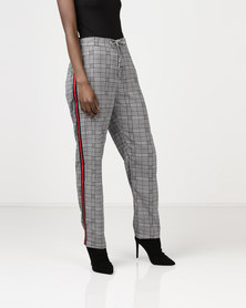 Brave Soul Prince Of Wales Check Trousers With Tape Black/Red