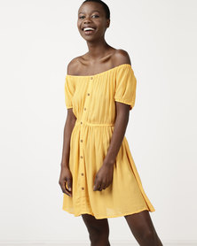 Brave Soul Off Shoulder Button Down Dress Mustard