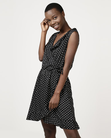 Brave Soul Mock Wrap Dress In All Over Spot Black/White