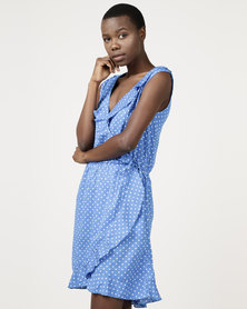 Brave Soul Mock Wrap Dress In All Over Spot Blue/White