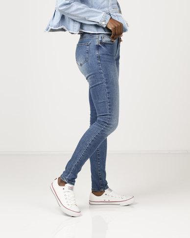 Brave Soul Vintage Wash Skinny Jeans Blue