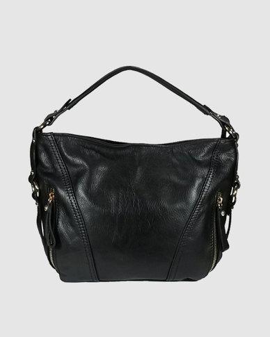 Icon Leather Hobo Handbag Front Zips Black