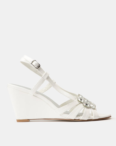 96805874b692 Queenspark High Sling Wedge Heels With Jewels White