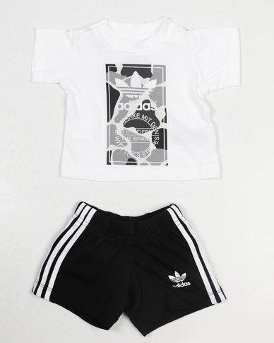 961178ab5545 adidas Originals Baby I C Trefoil Set Black White