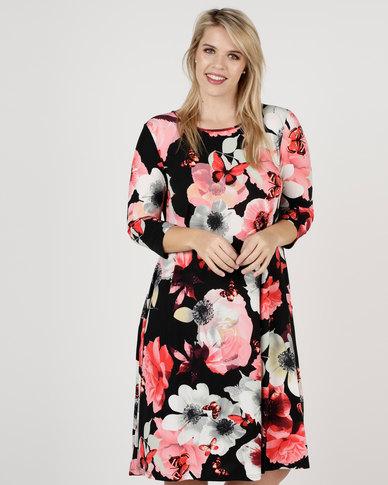 Queenspark Plus 3/4 Sleeve Printed Knit Dress Black