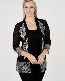 Queenspark Plus Fancy Mesh Knit Jacket Black
