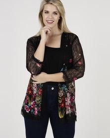 Queenspark Plus New Border Printed Mesh Knit Jacket Black