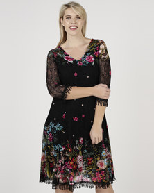 Queenspark Plus New Border Floral Fit & Flare Knit Dress Black