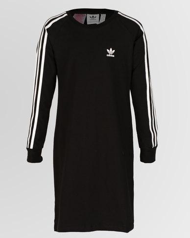 54c3de1948e92 adidas Originals Girls J Trefoil Long Sleeve Dress Black | Zando