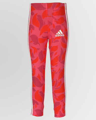 adidas Performance Girls Cotton Tights Red