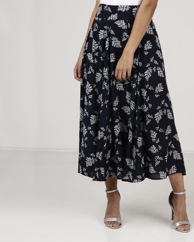 Miss Cassidy By Queenspark Printed Woven Skirt Navy
