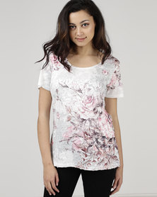 Queenspark Whimsical Bouquet Cornelli Knit Top Pink