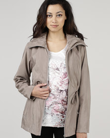 Queenspark Zip Through Parka Woven Jacket Taupe