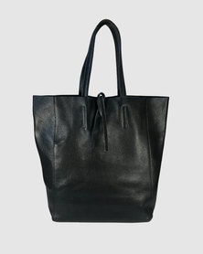 Icon Leather Unlined Tote Handbag Black