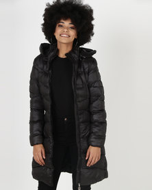 Utopia Belted Puffer Jacket With Hood Black