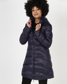 Utopia Belted Puffer Jacket With Hood Navy