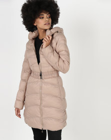 Utopia Belted Puffer Jacket With Hood Stone