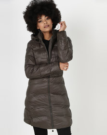 Utopia Belted Puffer Jacket With Hood Olive