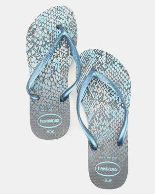 a9ac3f99349dbe Havaianas Slim Animals Flip Flops Grey Navy Blue
