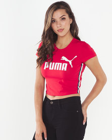 Puma Sportstyle Core Tape Logo Cropped Tee Red