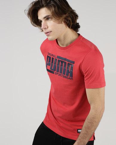 Puma Sportstyle Core Athletics Tee Red