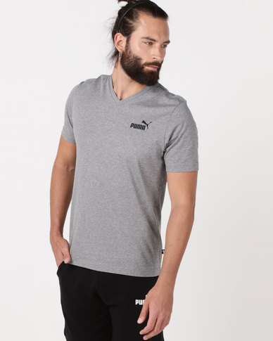 Puma Sportstyle Core Ess V Neck Tee Grey